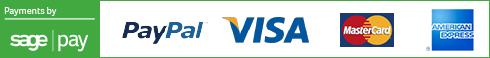 Payments by sagepay, paypal, visa, mastercard, american express